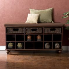 This shoe bench is a great multi-purpose item for efficiency apartments or other small spaces. In addition to shoe storage, also has rattan drawers for storing other items and can function as extra seating if needed.