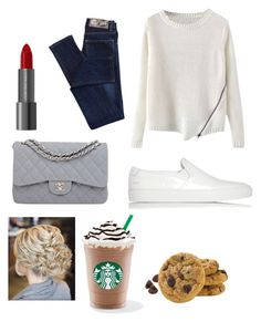 """""""Going for Starbucks and cookies"""" by leila-hussain ❤ liked on Polyvore featuring мода, Cheap Monday, Common Projects и Chanel"""