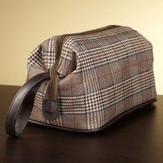 Bellemonde Brown Plaid Manor House Dopp Vintage Style Travel Toiletry Bag Kit by Bellemonde - $23.99