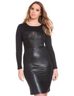 I would totally rock this, I need it right now!  Studio Faux Leather Mesh Mix Dress