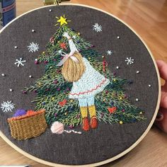 Christmas Sewing, Christmas Embroidery, Christmas Crafts, Christmas Tree, Crewel Embroidery Kits, Cross Stitch Embroidery, Embroidery Patterns, Needlepoint Kits, Sewing Crafts