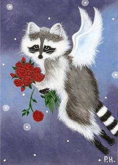 ACEO Print Raccoon Angel Fairy Valentine | eBay Junell Toney