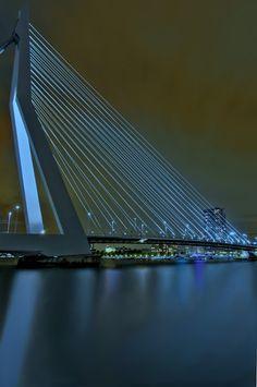#Rotterdam, Erasmusbrug, by Victor Westerhout Kingdom Of The Netherlands, South Holland, Bridge Design, Wale, George Washington Bridge, Night Lights, Rotterdam, Belgium, Dutch