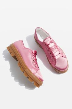 Pink satin lace up trainers with chunky sole.