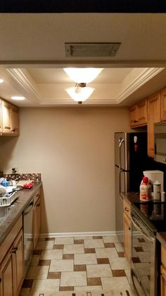 Before And After For Updating Drop Ceiling Kitchen Fluorescent - Update drop ceiling kitchen lighting