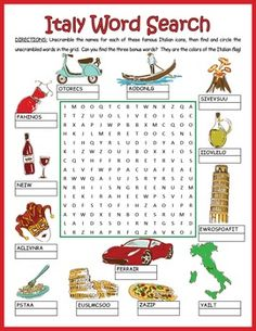 A word search/word scramble combination puzzle featuring 13 icons from Italy and three bonus words.  Students first have to unscramble the words and then locate them in the grid.  Lots of fun puzzling guaranteed.Once they have unscrambled and found the 13 words, they can hunt down the three bonus words: the colors of the Italian flag.They will love learning a little about Italian culture with this fun worksheet.
