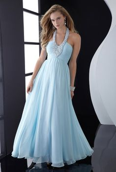 Online Prom Dresses Store Sky Blue Chiffon with Beaded Halter