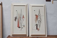 Mid Century Hanging Artwork Set of 2 Pair. $120.00, via Etsy.