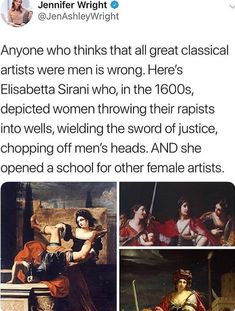 Elisabetta Sirani - an Italian Baroque painter and graphic artist.Elisabetta Sirani – an Italian Baroque painter and graphic artist. In the… - Education Subjects History Facts, Art History, History Memes, Historia Universal, Wow Art, Badass Women, The More You Know, Interesting History, Faith In Humanity