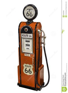Bomba De Combustível Vermelha Da Rota 66 Do Vintage Fotografia Editorial - Imagem: 50525952