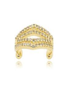 brinco piercing falso com zirconias cristais e banho de ouro semi joias finas