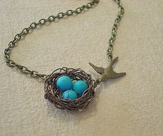 Hey, I found this really awesome Etsy listing at https://www.etsy.com/listing/99667522/birdnest-necklace-bird-necklace
