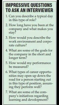Impressive questions to ask the interviewer