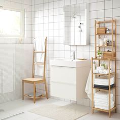 RÅGRUND towel rack chair, mirror and shelving unit in bamboo