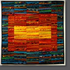 "Ann Brauer, ""Late August"" quilt, 39"" x 39""  I *LOVE* Ann Brauer work.  Why on earth haven't I tried working with strips?"