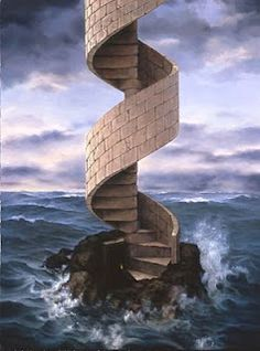 Surrealism Art by surrealist artist charnine-surreal fine art similar to surrealism of dali, magritte, delvaux Surreal Photos, Surreal Art, Conceptual Art, Surrealism Painting, Illusion Art, Stairway To Heaven, Magritte, Dali, Stairways