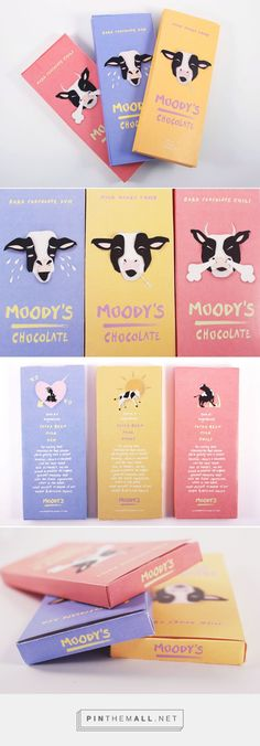 Moody's Chocolate packaging on Behance by Jane Jun curated by Packaging Diva PD. A little chocolate packaging smile to make your day.