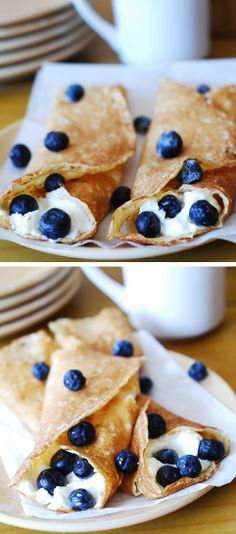 Delicious dessert crepes with sweetened ricotta cheese filling and blueberries!