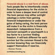 Narcissist financial ruin