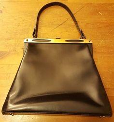 Vintage, SUPREME, Black, Leather, Baguette Handbag with Brass Trim (1950s)…