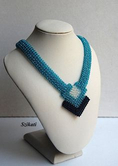 Teal beaded statement necklace Seed bead necklace by Szikati