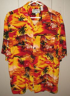 Hawaiian Mens Shirt Large ALOHA JOE 1950 Original Button Down Palm Trees Bright