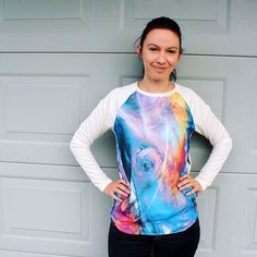 A Garment A Week - Week 20 - stitchremedy.com - A self drafted raglan sleeve top, chiffon front panel over the knit fabric.  #stitchremedy #sewing #mmmay16 #memademay Knitted Fabric, Activewear, Remedies, Tie Dye, Chiffon, Stitch, Sewing, Knitting, Sleeve