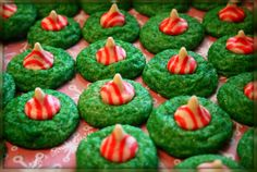 Sugar Cookie in green sugar with candy cane kiss