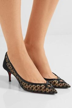 Christian Louboutin - Neomid 55 Embroidered Mesh And Leather Pumps - Black - IT34.5