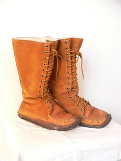 1970s Rust Suede NATIVE MUKLUK MOCCASIN Boots by HousewifeVintage, $89.00