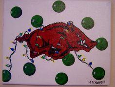 Licensed Original Razorback Christmas Painting 11 by ArtByDianneM