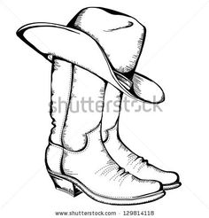 Cowboy boots and hat.Vector graphic illustration by Tancha, via ShutterStock Cowboy boots and hat.Vector graphic illustration by Tancha, via ShutterStock Cowboy Boots Drawing, Cowboy Art, Western Cowboy, Western Boots, Cowboy Theme, Western Outfits, Cowgirl Boots, Cowboy Tattoos, Dad Tattoos