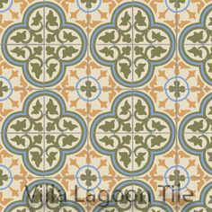 """Villa Lagoon Tile's Roseton """"Summer"""" cement tile, also available in over 60 colors."""