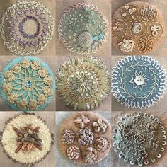 Such a fun week of stitching on Sand Dollar from my students We explores amazing texture with neutral threads Wool Applique Patterns, Felt Applique, Hand Embroidery Stitches, Wool Embroidery, Ribbon Embroidery, Embroidery Ideas, Felted Wool Crafts, Yarn Crafts, Felt Crafts Patterns