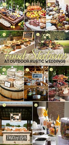 Deliciously stylish ideas for food stations at outdoor rustic weddings from taco bars to wine and cheese displays to pie tables.