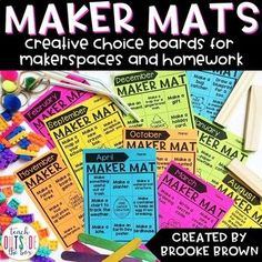 Maker Mats are simple, creative choice boards that promote divergent thinking and creative expression. They are the perfect complement to a MakerSpace or creative learning area in any classroom or media center, with simple-open ended tasks that guide imaginations