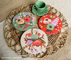 I love flowers. Give me more flowers    Painted Cork Coasters diy