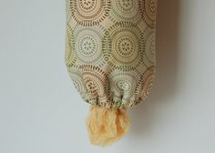 Fabric Grocery Bag Dispenser - Beige Brown Blue and Green by PeetSwea, $12.00