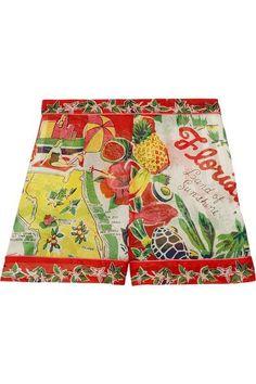 Anna Sui - Florida Printed Silk-jacquard Shorts - Red - US