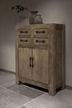 Farmer meidenkast   Woonland Rustic House, Barn Wood, Decor, Rustic Design, Furniture, Tall Cabinet Storage, Stone Flooring, Vintage Decor, Painted Furniture