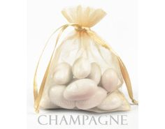 100 Champagne Organza Bags 3 x 4 Inch Sheer Fabric by SheerColors