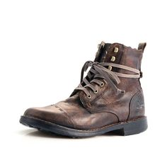 Mens Dark Brown Leather Military Style Boots A1407