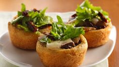 Mushroom-Mozzarella Appetizer Cups: Dress up crescent rolls in a fresh new take on a cheesy appetizer using tomatoes, herbs, and greens. Yummy Appetizers, Appetizers For Party, Appetizer Recipes, Veggie Appetizers, Mushroom Appetizers, Appetizer Ideas, Party Recipes, Holiday Recipes, Antipasto