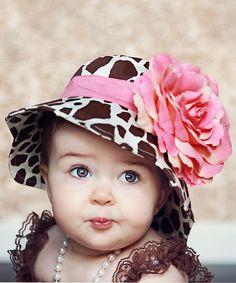Brown Giraffe & Pink Flower Sunhat