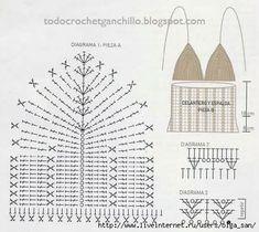 Schemes of knitting crochet bodice . Crochet Halter Tops, Motif Bikini Crochet, Pull Crochet, Crochet Bra, Crochet Summer Tops, Crochet Motifs, Crochet Crop Top, Crochet Woman, Crochet Stitches Patterns