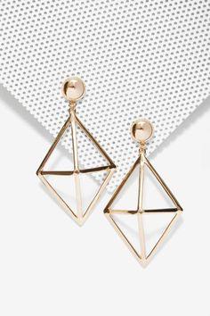Foxy Roxy Cage Drop Earrings - Accessories | Earrings | Gold