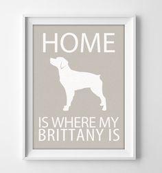 """8x10"""" Brittany Wall Art, Brittany Spaniel Art, Brittany Decor, Custom Brittany…"""