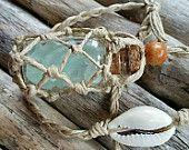 SALE! AQUA Sea Glass Hemp Rear View Mirror Charm, car accessory, beach, nautical, ocean, free US shipping