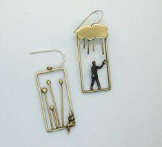 Rectangle Earrings, Minimal Jewelry, Nature Jewelry, Plant Jewelry, Cloud Jewelry, Rain Jewelry, People Jewelry, Mismatch Earrings