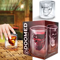 Doomed Crystal Skull Shot Glass and more Great Gifts at Perpetual Kid. This formidable shot glass is our tribute to the Skull of Doom, which Mayan legend claims Skull Shot Glass, Vodka Shots, How To Make Drinks, Crystal Skull, Glass Crystal, Shot Glasses, Whiskey, Wine Glass, Alcohol